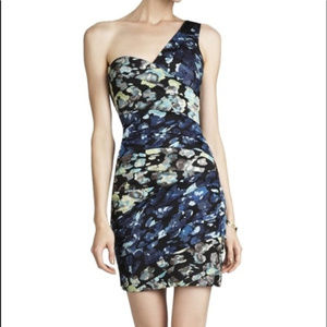 BCBG MAXAZRIA Floral Printed One Shoulder Dress 10